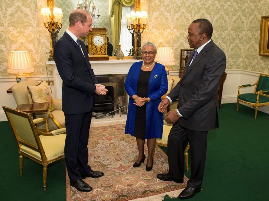 President Uluru of Kenya meets Prince William at the end of his 3 day